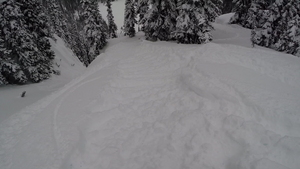 Big gap to Micro tranny, Eagle Pass Heliskiing