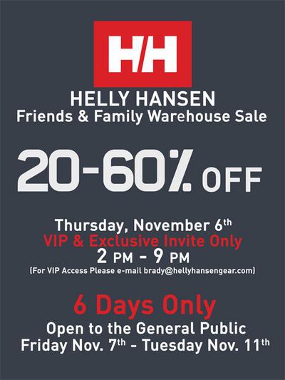 pretty nice 604a5 c22b7 Helly Hansen Warehouse Sale - Nov. 6-11 - Redmond Town ...