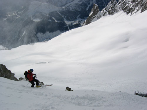 Steep entry onto the Glacier